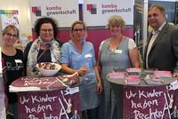 Informierten über die Arbeit der komba gewerkschaft (v.l.n.r.): Tanja Plath, Sandra van Heemskerk, Anne Schucht, Iris Ohm und Ingo Bings. (© komba gewerkschaft)